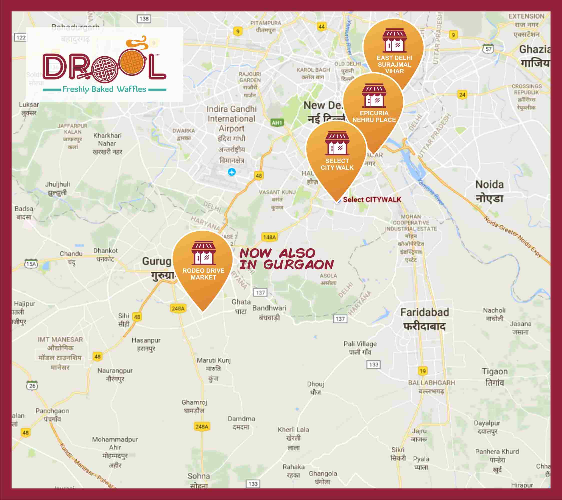 Drool Waffles-gurgaon-delhi-LOCATION